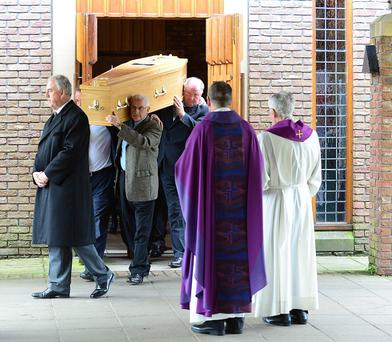 The funeral of veteran actor JJ Murphy, who died shortly after filming his first scenes for Game of Thrones. The service took place at St Brigid's Church in Belfast. Pic: Arthur Allison