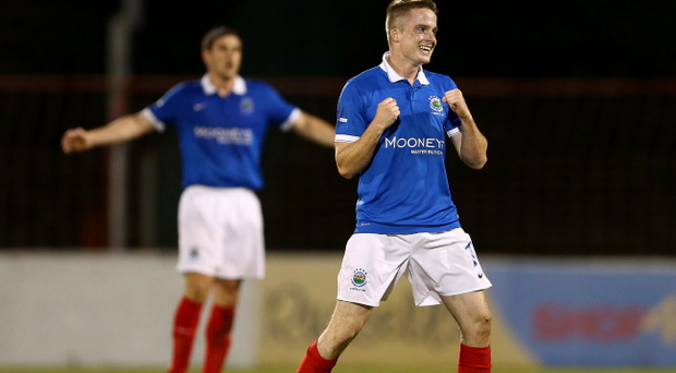 Linfield's Aaron Burns celebrates scoring his second and winning goal against Glentoran during Wednesday nights Danske Bank Premiership game at the Oval. Pic William Cherry