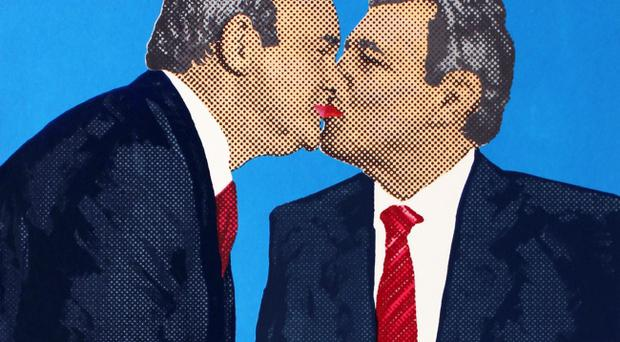 The mock-up installation showing Martin McGuinness and Peter Robinson kissing by artist Stuart Cannell