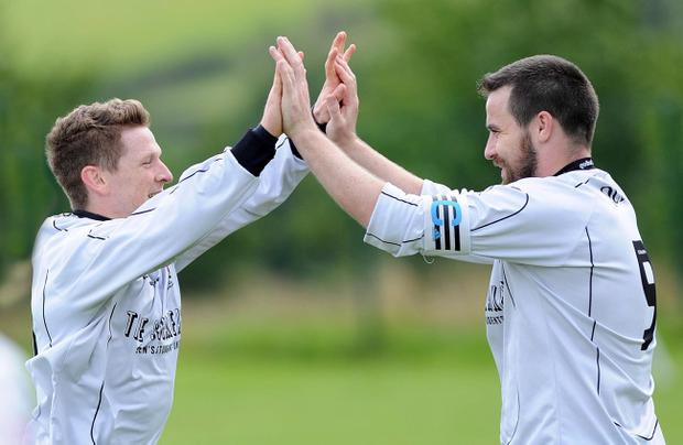 Junior Football - Donard Hospital v Queens University - Steele & Sons Cup First Round - 16th August 2014 Presseye Declan Roughan Queens Conor Mulholland celebrates his goal against Donard Hospital with team mate James Lavery