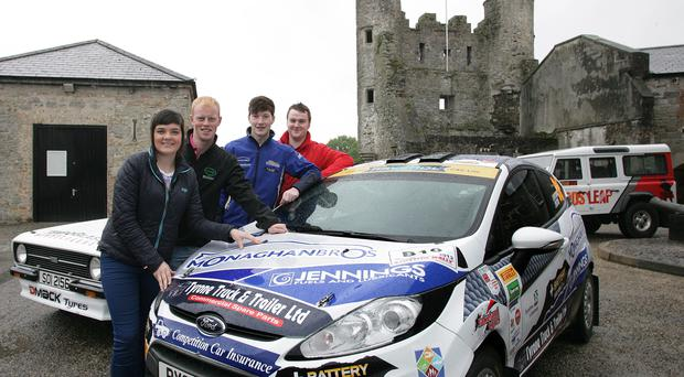 Young guns: Timothy Cathcart (right) with Amy Cox, Sam Moffett and Jon Armstrong at the launch of the 2013 Todds Leap Ulster Rally