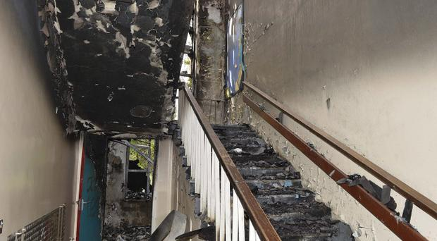 Fire damage at the old Newtownbreda Primary School building in south Belfast. Photo Presseye