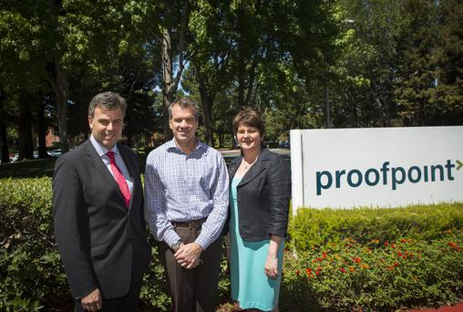 US based Proofpoint is to add 94 new jobs to Northern Ireland's growing tech sector. Pictured - Jobs minister Arlene Foster with CEO Gary Steele and, left, Alastair Hamilton, Chief Executive, Invest NI