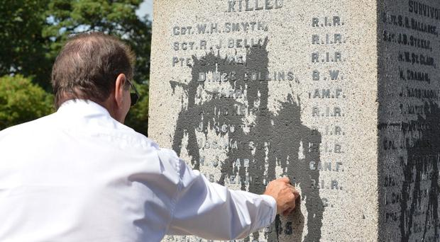 The war memorial in Glenavy which was attacked with paint by vandals. Pic Presseye