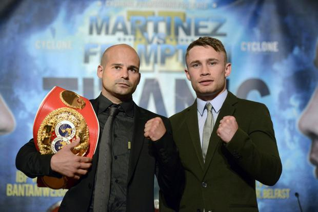 Carl Frampton and Kiko Martinez at a press conference to announce that their world title fight