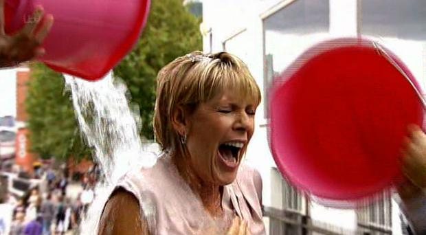 Ruth Langsford gets soaked by Eamonn Holmes. Picture: ITV/Twitter