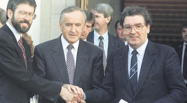 Albert Reynolds in Dublin after a meeting with Gerry Adams and John Hume