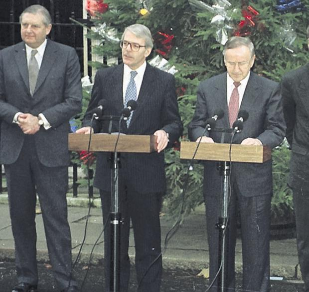 Albert Reynolds at the signing of the Downing Street Declaration in 1993