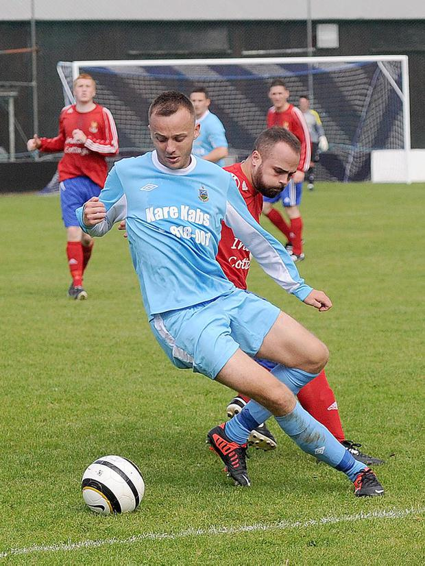 Junior Football - Ards Rangers v Islandmagee - Irish Cup First Round - 23rd August 2014 Presseye Declan Roughan Ards Ranger's Ryan Newberry and Islandmagee's Neil Lammey