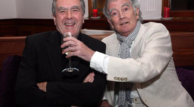 Raise a glass to Gerry: The late star and his radio partner Sean.