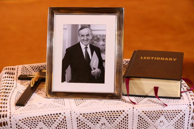 A portrait of former Taoiseach Albert Reynolds at the Church of the Sacred Heart in Donnybrook, Dublin, prior to his funeral service Maxwells/PA Wire