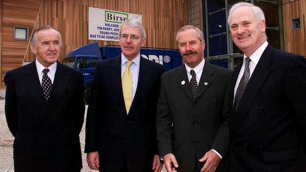 20 March 2000: Former Irish premier Albert Reynolds, former British Prime Minister John Major, Colin Parry, father of Warrington Bomb victim Tim Parry and former Irish premier John Bruton outside the new Warrington peace centre. Phil Noble/PA Wire