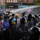 Loyalists protesters at Royal Avenue in Belfast City centre in 2013