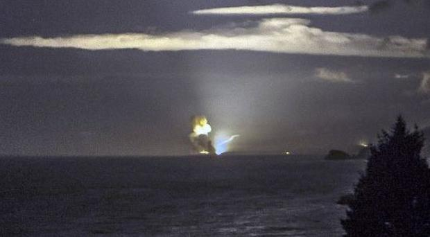The horizon from Cape Greville in Alaska, after a rocket carrying an experimental Army strike weapon exploded after taking off