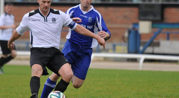 Action from Lisburn Distillery v Kiilmore Rec, Steel & Sons Cup second round, August 30, 2014