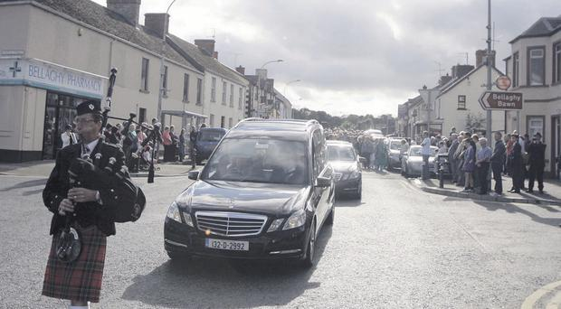 The scene in Bellaghy a year ago when Seamus Heaney's funeral cortege passed through the village