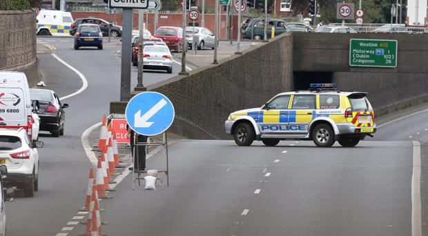 The Westlink in Belfast has been closed in both directions following the discovery of a suspect bomb. Pic Matt Mackey