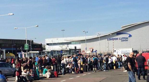 Thousands of people stranded at Luton airport following a security alert. Pic Freddie Dolton/Twitter