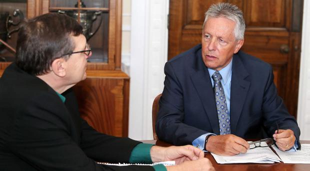Peter Robinson pictured speaking to our political editor Liam Clarke at Stormont. Pic Jonathan Porter