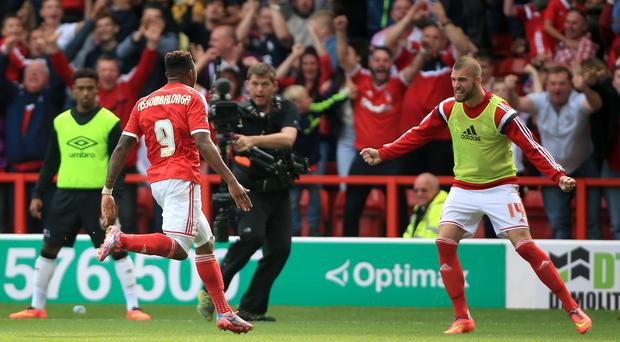 Nottingham Forest's Britt Assombalonga celebrates scoring his sides first goal of the game during the Championship match at the City Ground, Nottingham. Nick Potts/PA Wire.