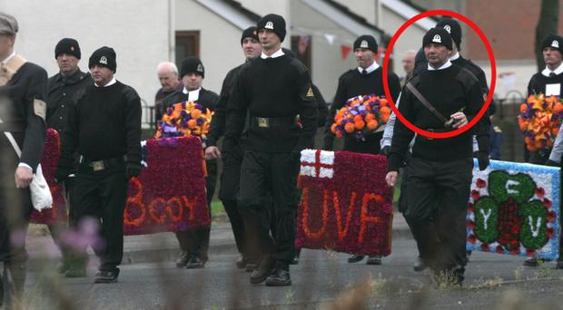 Tommy Harrison pictured as the Brian Robinson Parade makes its way through the Shankill estate.