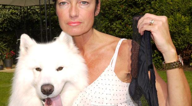 Samoyed dog Brian, here with owner Kaye Banks, had to have an emergency operation near Rotherham, South Yorkshire after developing a taste for thong underwear.