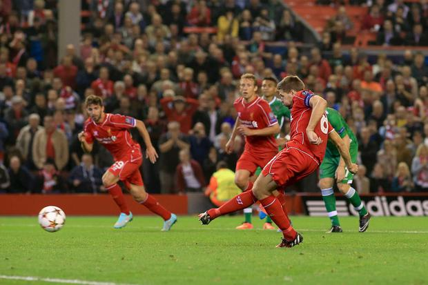 Liverpool's Steven Gerrard scores their second goal of the game from the penalty spot during the UEFA Champions League, Group B match at Anfield, Liverpool