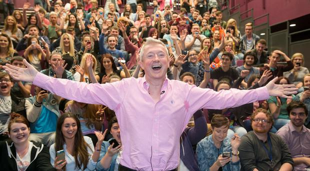 X Factor judge Louis Walsh at the North West Regional College in Derry yesterday