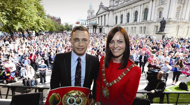 Peace prize: Carl Frampton and Lord Mayor Nichola Mallon are attending the Inspirational Awards