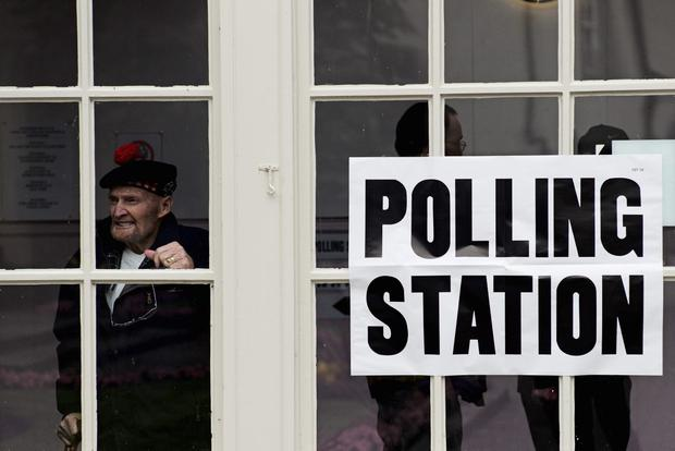 Former Gordon Highlander, Jock Robertson, aged 81, who said 'I have waited all my life for this vote' pauses at Peebles polling station after voting in the Scottish referendum on September 18, 2014 in Peebles, Scotland. (Photo by Christopher Furlong/Getty Images) *** BESTPIX ***