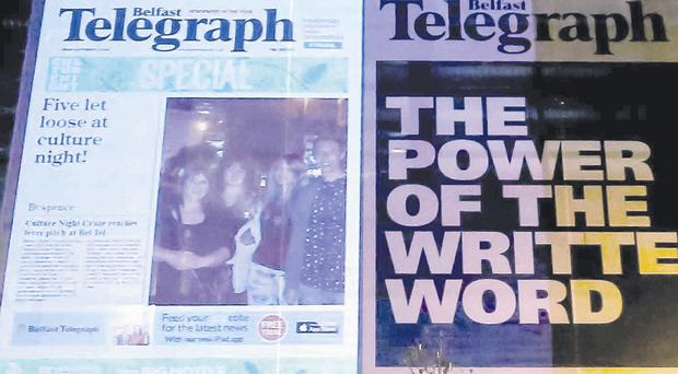 The Belfast Telegraph projected onto the front of our building