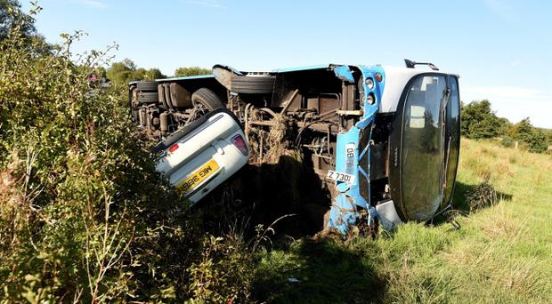 The smash involving a bus and car on the Omagh Road in Drumquin. Pic Pacemaker