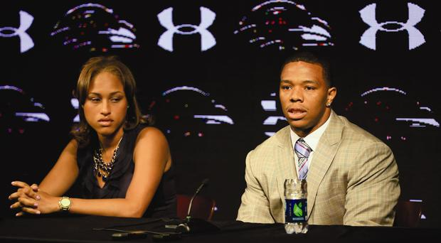 Video nasty: Ray Rice with his now wife Janay Palmer, who he punched in a lift