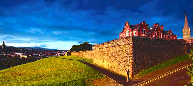 An application has been submitted for palisade fencing. Above: A section of Derry's Walls
