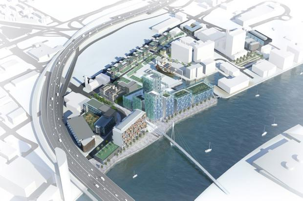 A computer generated image of how the City Quays development will look
