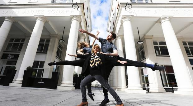 Gilly Campbell, Arts Council of Northern Ireland, pictured at The MAC with Maiden Voyage dancers Vasiliki Stasinaki and David Ogle, launching EMBRACE, a new programme of participatory and creative learning activities as part of the 2014 Ulster Bank Belfast Festival at Queen's, supported by Arts Council Northern Ireland.