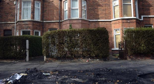 The scene after an arson attack on two cars in the Delhi Street area of South Belfast Photo Colm Lenaghan/Pacemaker Press