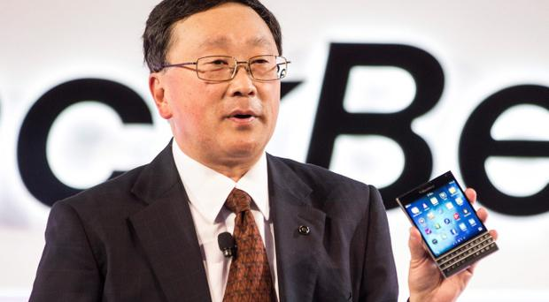 BlackBerry CEO John Chen shows off the company's new Passport. Pic Chris Young