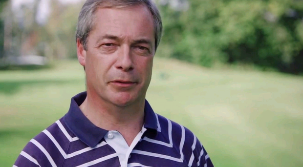 Ukip leader Nigel Farage strolls around golf course making a series of bad jokes in the video