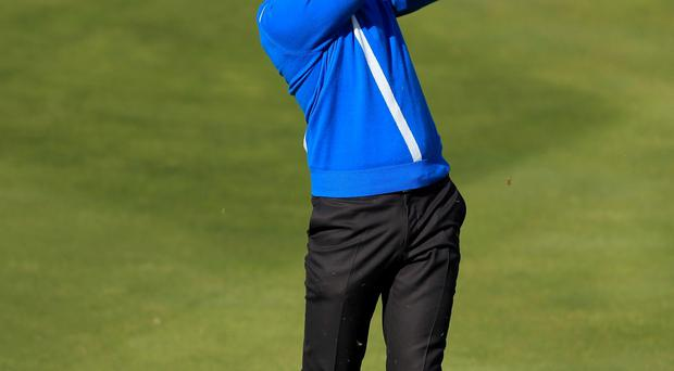On form: Henrik Stenson proved to be an excellent foil for Justin Rose as the pair scored two vital points yesterday