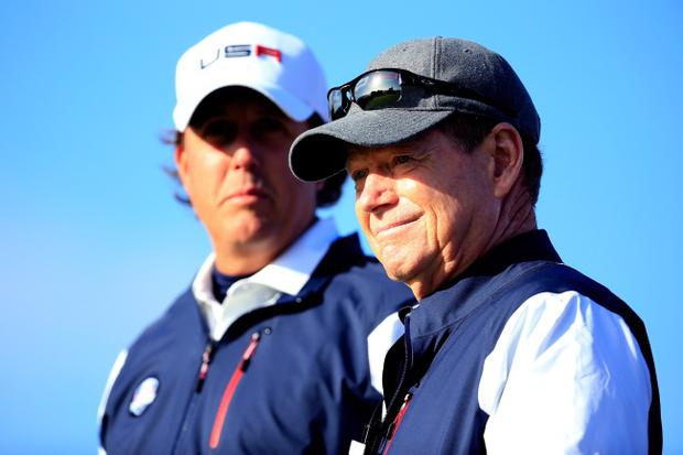 AUCHTERARDER, SCOTLAND - SEPTEMBER 26: Phil Mickelson (L) of the United States talks with captain Tom Watson on the 6th tee during the Morning Fourballs of the 2014 Ryder Cup on the PGA Centenary course at the Gleneagles Hotel on September 26, 2014 in Auchterarder, Scotland. (Photo by Harry How/Getty Images)