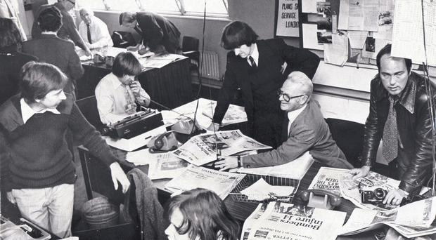 The bustling Belfast Telegraph newsroom following the bomb that exploded in the building in September 1976