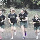 Athletics club members at Dominican College, Fortwilliam, Aoife McCann, Lucy McEwan, Melissa Corey, Laoise Jennings, Orlaith McBride and Ailbhe MacRuagain take part in a final training session ahead of this Sunday's The Big School Run. The new schools event is part of the Belfast Telegraph Runher's Titanic Run/Walk
