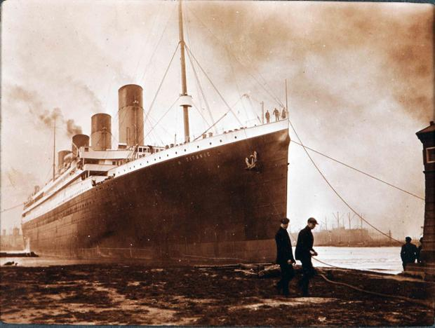 Titanic during her launch at Harland and Wolff shipyard in Belfast