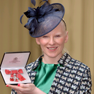 Kelly Gallagher after she was awarded an MBE at Buckingham Palace yesterday for services to sport for people with a visual impairment
