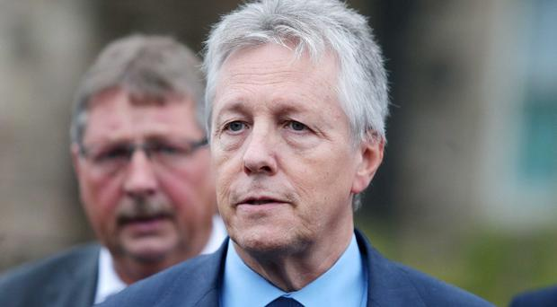 The DUP's Sammy Wilson and leader Peter Robinson talk outside Stormont Castle. Pic Jonathan Porter/Presseye.com