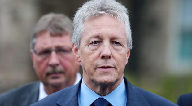 The DUP's Sammy Wilson and leader Peter Robinson outside Stormont Castle. Pic Jonathan Porter