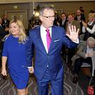UUP leader Mike Nesbitt and wife Lynda arrive at the party conference at the Ramada Hotel, Belfast