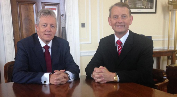 DUP leader Peter Robinson with Maurice Devenney