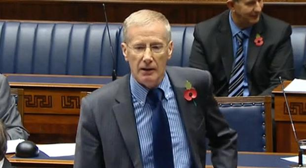 The east Londonderry MP has been barred from speaking in the Assembly today and tomorrow.